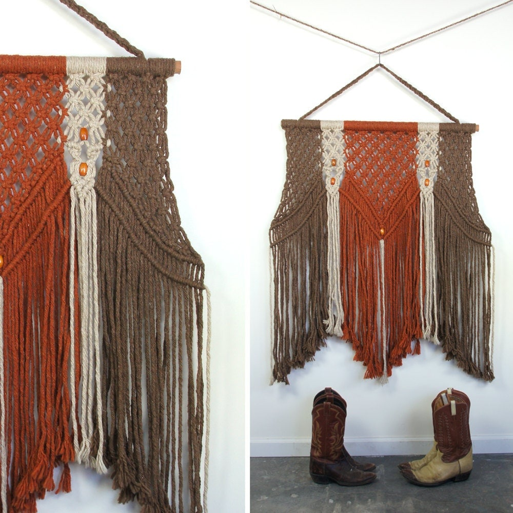 Huge Macrame Wall Hanging Textile Art By Spunkvtg On Etsy