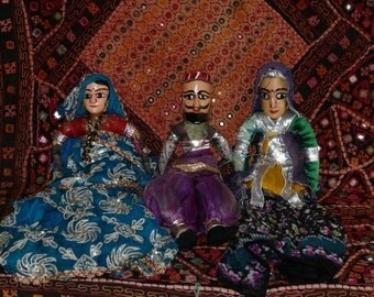 3 Old Rajasthani INDIAN PUPPETS WOOD and Cloth