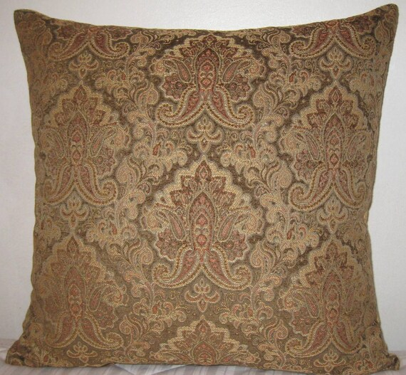 Chenille Throw Pillow Covers : Chenille Paisley decorative pillow cover-24x24
