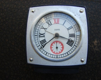 Soviet Union Russian USSR Mechanical Table Clock ZARJA with Electrical Alarm Ussr era 1980s