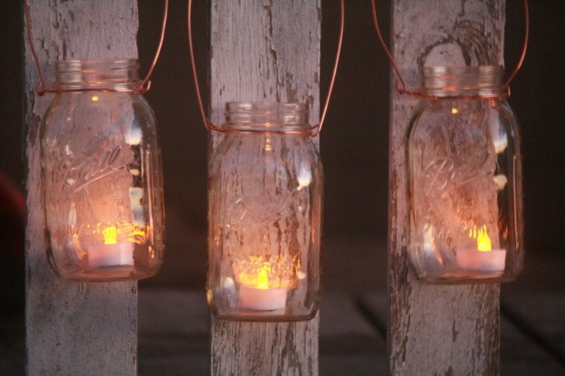 Mason jar lantern lid diy kit copper wire by for Hanging candles diy