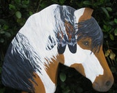 Stick Horse, Indian tri - color paint pony named Scout, toys for boys and girls, wooden toys, horses, ponies, equestrian,hobby horse, play,