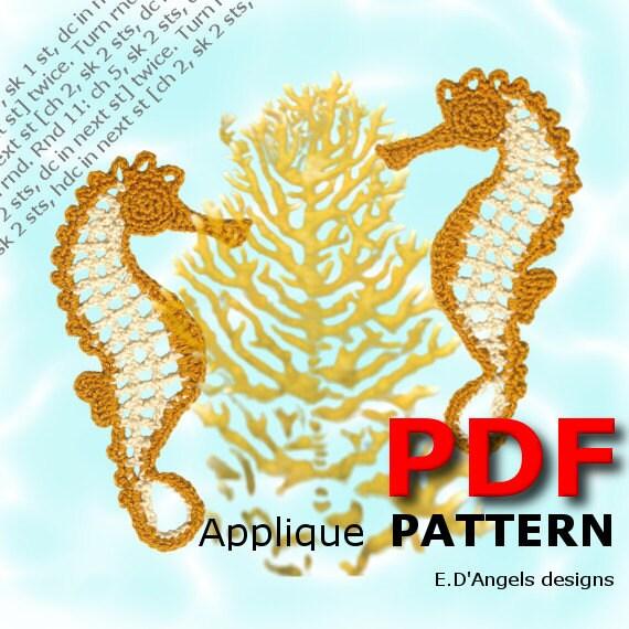 Crochet pattern Crochet Two SEAHORSES Applique pattern