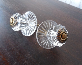 6 Clear Glass Knobs - Antique Finish Metal Fittings/Large Glass Backplate - More or Less Available If Needed. Item No. CI-037