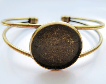 2pcs Brass Antique Bronze Blank bracelet 20mm round bezel cup cabochon mountings H25110