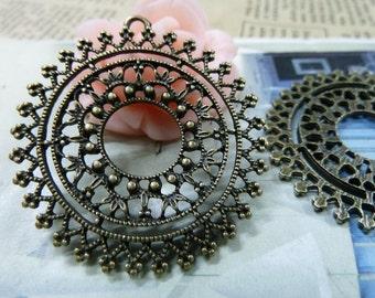 10pcs 40mm Antique Bronze Flower Charms Pendants Connectors Jewelry Findings Wholesale AC1635