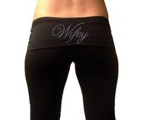Custom Wifey Black Fold Over Yoga Pants .LARGE. CLEARANCE ITEM . Bridal Yoga Pants . Custom Wifey  Yoga Pants . Wifey Sweatpants