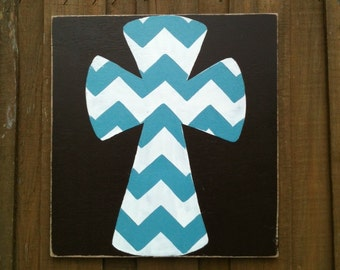 Hand painted distressed wood cross sign painted turq and white chevron