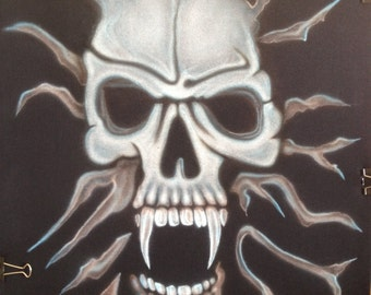 """Airbrushed T-Shirt Skull -Unique """"L"""""""