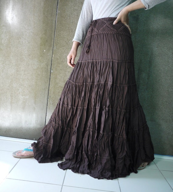 Dark Brown Tiered Ruffle Maxi Skirt With Cotton Crochet Lace