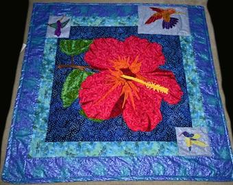 Hibiscus & Hummingbird Art Quilt