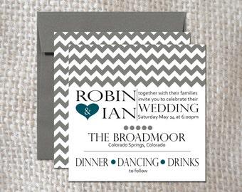 Wedding Invitation Set - Modern Hearts