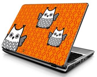 Owl (orange) - Laptop Decals - Laptop Skins - Laptop Stickers - Laptop Vinyl