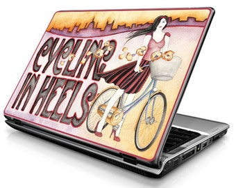 Laptop Decals - Laptop Skins - Laptop Stickers - Laptop Vinyl - Cycling in heels (colorful)