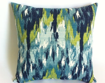 11 sizes Available: One Turquoise Ikat Mid-Century Modern Decorative Throw Zipper Pillow Aqua Blue Woven Barkcloth Accent pillow cover-BU6G