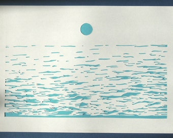 The sea inspired by Felix Vallotton, papercut