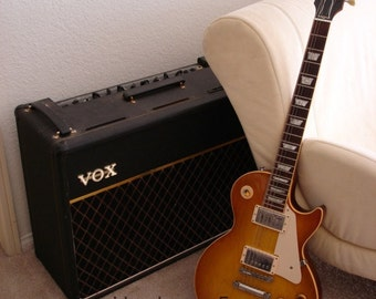 Amp and Guitar.  Electric guitar photo, Vox amp, Gibson guitar, guitar photo, guitar print, still life, music art print, musical instruments