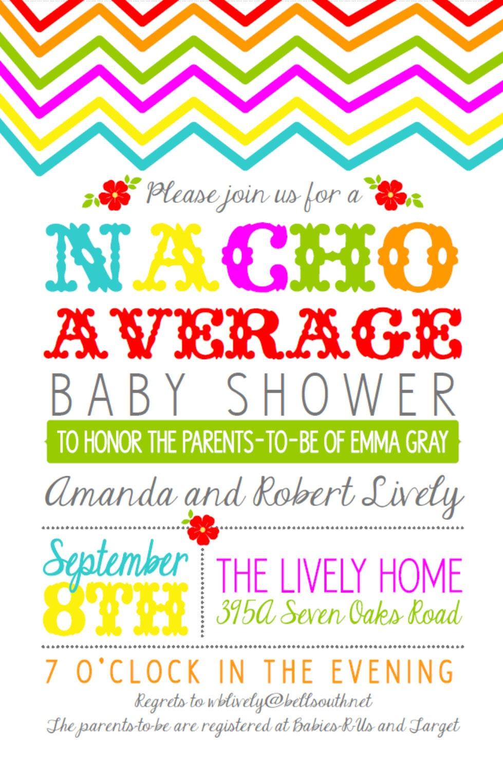 Nacho average baby shower 5x7 - Fiesta baby shower ...