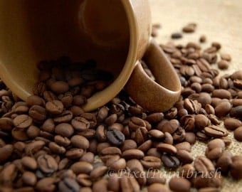 DIGITAL DOWNLOAD, Mug and Coffee Beans, Burlap, Brown and Beige Photo, Java, stock photo, available in print
