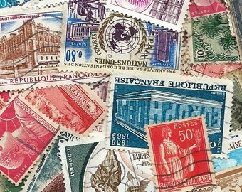50 Vintage french Postage Stamps - Scrapbooking, collage, altered art
