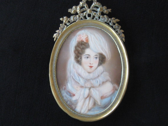 Antique hand painted miniature portrait beautiful lady for Hand painted portraits from photos