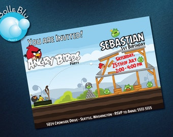 Printed Angry Birds Invitation Customizable Birthday Party