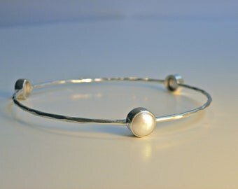 Sterling Silver Lombok Coin Pearl Bangle
