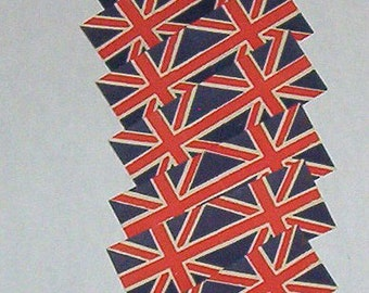 12 Old Vintage United Kingdom British cupcake dollhouse miniature paper flags crafts lot