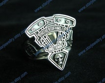 Steampunk large V style motor engine ring with skull carving craft---925sterling ring