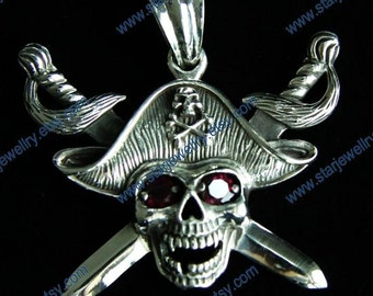Steampunk Caribbean Pirate skull with red eyes neclace pandent---925sterling
