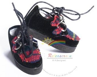 "Gothic Velvet Creepers Shoes Black/Red Plaid for 17"" Tonner Matt O'Neill Male, 17"" Lara Croft, 14"" Kish Dolls"