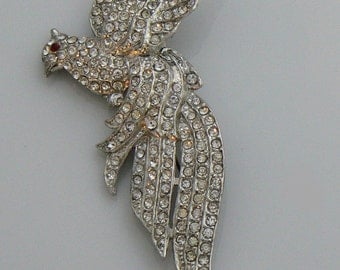 Vintage Pot Metal Rhinestone Pave Bird Brooch  Unique vintage, antique, costume and estate jewelry.