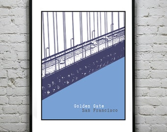 San Francisco Golden Gate Bridge Poster Art Print California CA Item T1193