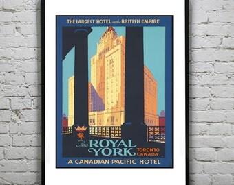 1920's Vintage Royal York Hotel Toronto Canada Travel Art Print Poster