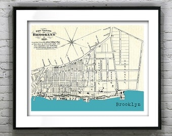 Brooklyn Poster Art Print New York Old Vintage Map