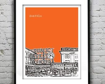 Seattle Skyline Poster Art Print Washington WA Public Market Version 1