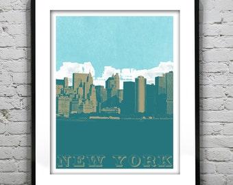 New York Poster New York Print Grunge Skyline Art Print New York City