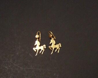 Goldtone Prancing pony earrings