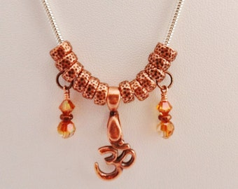Copper OM Pendant Necklace with Crystal Copper Swarovski Crystal Charms on Silver Snake Chain