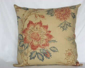 """Beige - Burgundy - Blue - Red - Linen pillow cover - Printed linen cushion cover - Flowery throw pillow - 18"""" x 18"""""""