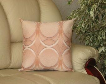 "Orange  brown beige decorative printed luxury handmade throw pillow  cushion cover. 40 cm x 40 cm(16"" x 16"")"