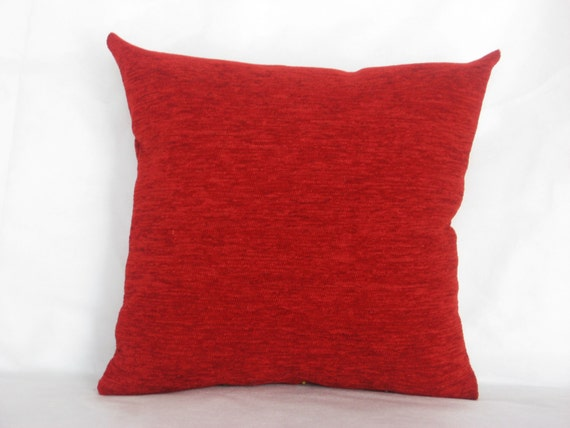 Red chenille luxury handmade throw pillow pillow