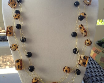 Clearance 30% Reflected in Price - Double Strand Cheetah Wire Crochet Choker Necklace