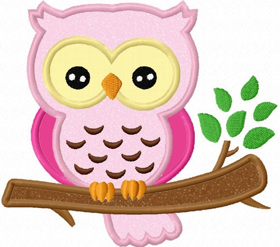 Owl on branch applique machine embroidery design no