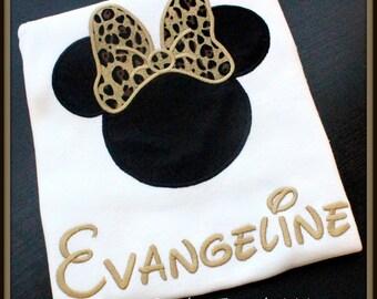 Minnie Mouse Personalized Shirt- Cheetah Print