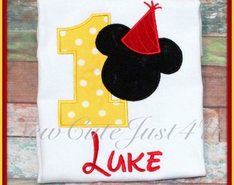 Mickey Mouse Birthday Hat  Number Shirt