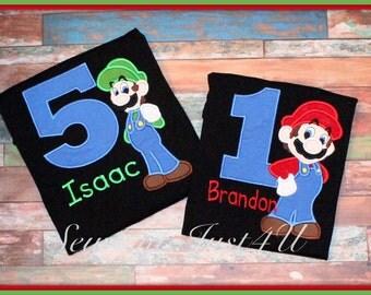 Mario or Luigi Birthday Personalized Number Shirt