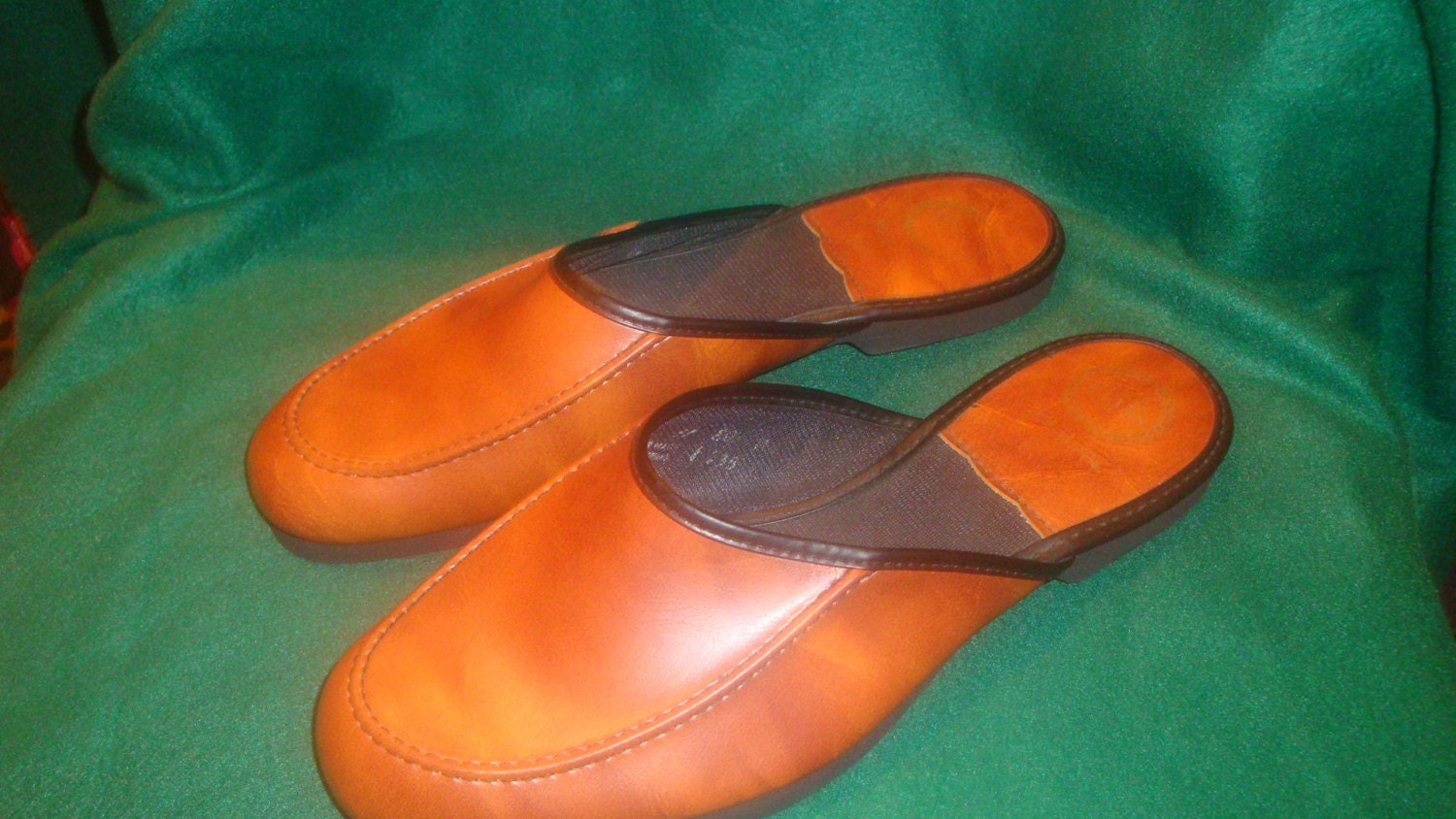Vintage L B Evans Brown Leather Mens Slippers Bedroom