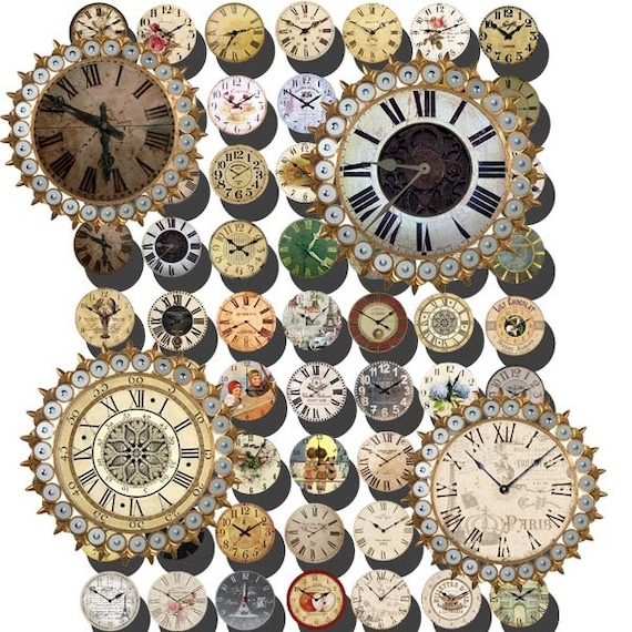 Vintage Clock Old Clock Faces Collage Sheet 118 126 by ...