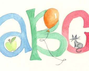 Custom 11x14 Watercolor Painting Nursery Alphabet Art